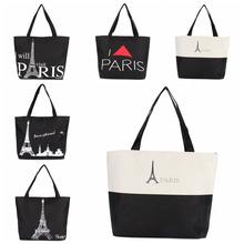 Women Lady Canvas Handbag Shoulder Shopping Bag Paris Eiffel Tower Travel Tote