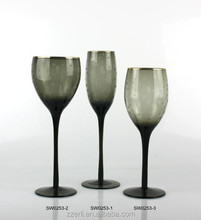 Wine goblet glass,grey colored drinkware with carved dots and gold rim,champagne and wine glassware for set