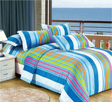 2015 Colorful Stripe Blue Print Children Duvet Cover Bedding Set With Pillowcases Single Size