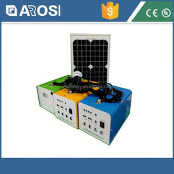 Arosi high quality best price solar powered wall clock 30w 7ah mini solar system with CE and ISO