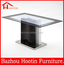hot sale modern high gloss mirrored wood and glass top dining table