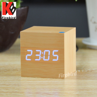 Factory direct wooden led digital alarm clock radio for bedroom or office