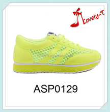 Bright yellow trainers shoes sport shoes sneaker from China Shoe factory