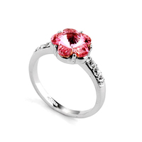Fashion jewelry wholesale china red gemstone ring, beautiful plum flower ring