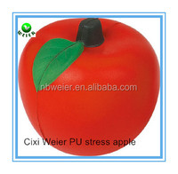 6.8cm apple shape PU ball/soft toy PU foam apple for kids&adults/fruits soft foam PU stress apple