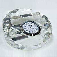 Elegant Design Transparent Laser Engraved Crystal Oval Desktop Clock with Name Card Holder as Office Table Decoration