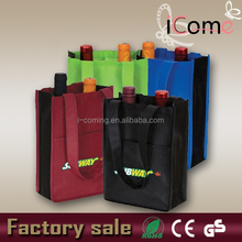 Wholesale promotional custom cheap non woven 6 bottle 1.5l tote carring wine bag(ITEM NO:W150434)