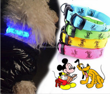2015 Hot sale pet products, cute nylon led dog collar bulk with cartoon patterns, high quality but factory price in stock