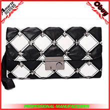 2015 summer latest design clamshell-style sheepskin fashion genuine leather ladies hand purse