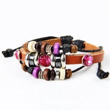 Woven african wooden beads leather handmade bracelets wholsale price alibaba ebay wrap magnetic bracelets