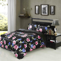 100% polyester 3d faux silk bedding set/black satin bedspread/flower design bed sheet