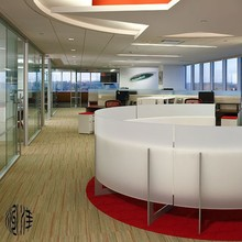 Modern Office partition wall panels: curved into round shape, pure and semi-translucent, easy clean and eco friendly.