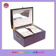 Wholesale unfinished wooden large mirrored jewelry box wood(WH-1924-JP)