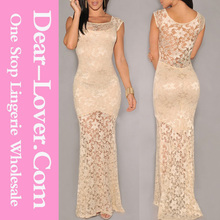 2014 new arrival wholesale Sexy Lined Long Lace claudia bridal evening dress