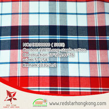 2015 popular 100% cotton long stapled colourful check fabric for garment