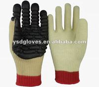 Cut Resistant anti-vibration foam rubber coated safety gloves