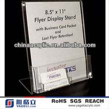 Hot Sale Acrylic Flyer Display Stand with Bussiness Cards Pocket