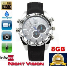 Full HD 1080P Waterproof wrist Watch Camera 8GB with night vision