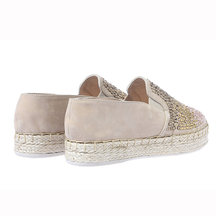 2016 hot fix and covered flax rubber soles design with flat shoes women ladies