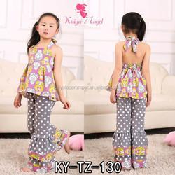 girl ruffled pants set, kids garment, baby clothes wholesale price