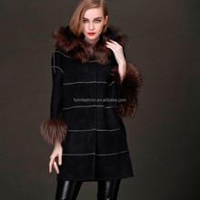 Winter Sheep Fur and Leather Kid Skin Coat with Raccoon Fur