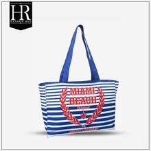 Classic Pink Strip Beach Canvas Bag with Pockets and Zipper