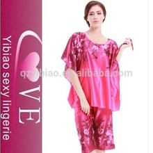 2015 de seda china wholesale sleepwear impressão flor sexy nighty