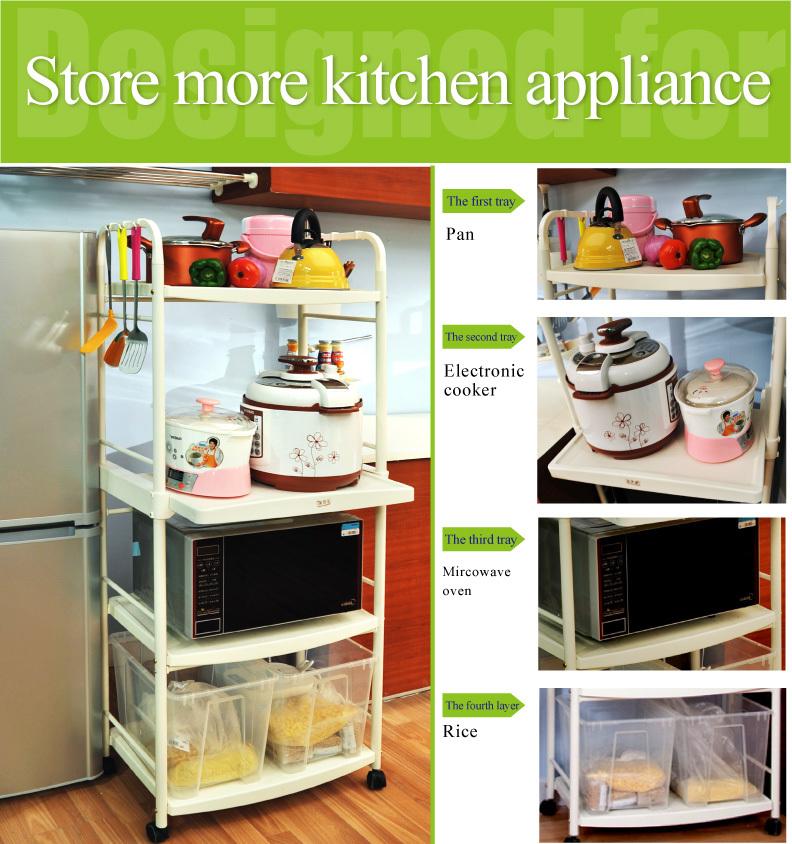Byn 4  tier forno a microonde stand mobili cibo carrello cucina ...