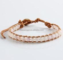 Natural milky white dull polish hide rope bracelet
