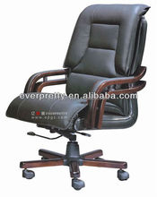 Stackable Seat Luxury Wooden Executive Ripple Black Leather Office Chair Base Wooden