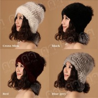 Genuine mink fur knitted hat with two big fox pompon
