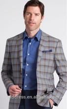 Premium de moda azul aciano despieces a cuadros, 100% de lana sportcoat personalizado