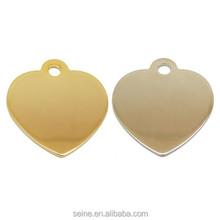 Good quality unique your logo metal heart shape pet ID tag dog tag