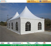 6x6m aluminum frame glass wall pagoda tent with flooring
