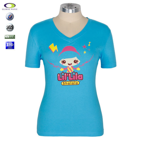 Customized graphic 95 cotton 5 spandex t shirts ladies for 95 cotton 5 elastane t shirt