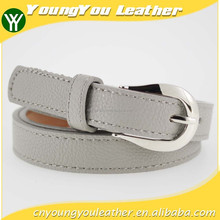 Women classic gray pu women jeans belt with Grey leather and Silver buckles