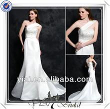 Fq0469 uno- hombro bordar imágenes sirena de hermosos vestidos de novia