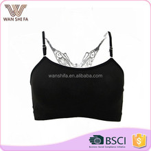 Wholesale price plain spaghetti straps 92% nylon seamless camisole top