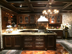 royal household nature wood kitchen cabinet with bar table