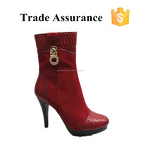 luxury red suede winter boots for women
