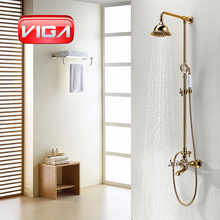 brass gold rain shower column set with brass shower support