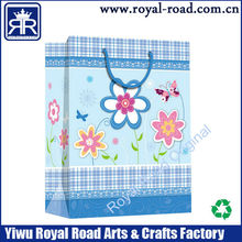 Fancy beauty flower printed shopping gift paper package bag