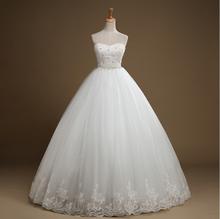 WD215 Elegant Empire Sweetheart Beaded White Organza Puffy Ball Gown Wedding Dress