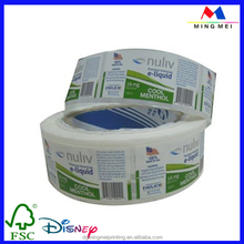 Wholesale custom self adhesive e liquid labels, label for plastic bottles, bottle roll/sheet label