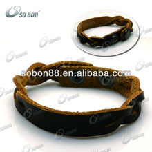 personalized gifts twisted leather hockey sport bracelet brown