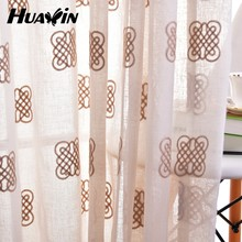 big factory hot selling natural style embroidery linen look curtains
