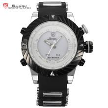 SHARK Men's Sport Dual Time Analog Digital Quartz LED Date Day Alarm Chronograph Racing Rubber Band Wrist Watch