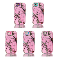 Pink Camouflage Mossy Tree&Leaves Design 3IN1 Hybird Hard PC+Soft TPU Back Skin Cover Cases For iPhone 6 4.7inch made in china