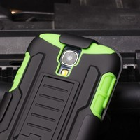 INSTOCK Cell Phone Case Future Armor Impact Skin Holster Protector Cover case for For Samsung Galaxy S4 GREEN/BLACK Phone Case