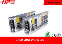 Guangzhou factory hot selling best quality slim constant voltage single output 200w 5v 40a laser power supply